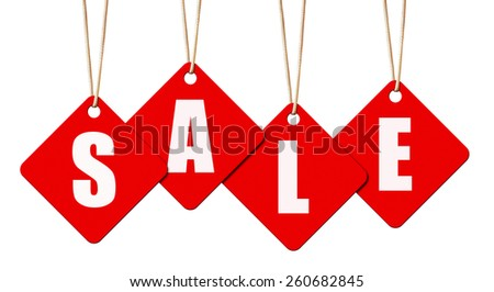 Hanging sale letter tags isolated on white with clipping path. - stock photo