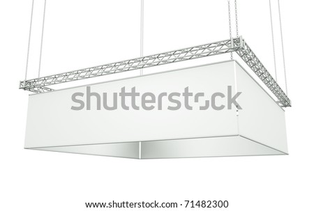 Hanging tradeshow banner against a white background. 3D render. - stock photo