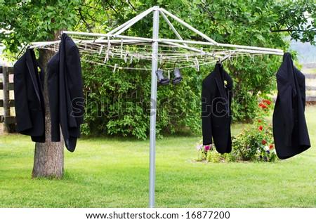 Hanging Tuxedos - stock photo