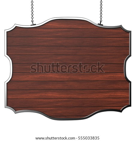 Hanging wooden board 3d illustration