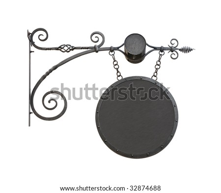 Hanging wrought iron notice sign with copy space isolated on white background