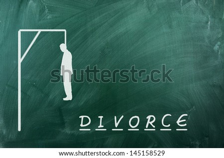 Hangman game on green chalkboard ,concept of divorce - stock photo