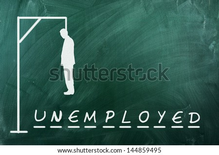 Hangman game on green chalkboard ,concept of unemployment - stock photo