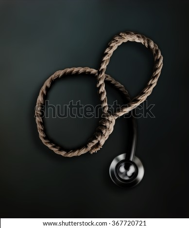 hangmans noose transforming into a doctors stethoscope