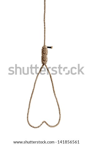 hangmans rope noose in the shape of a heart isolated on white background - stock photo
