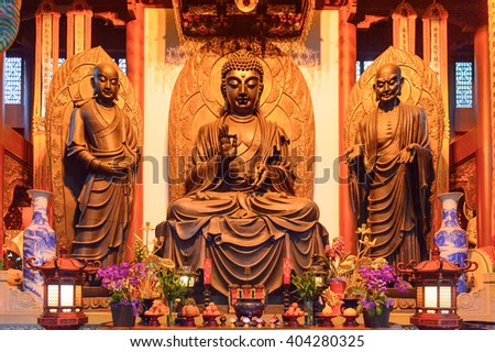 HANGZHOU, CHINA - APR 2, 2016: Buddha statue at one of the Buddha pagodas at the Lingyin Temple (Temple of the Soul's Retreat) complex. One of the largest  Buddhist temples in China