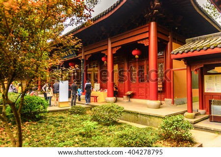 HANGZHOU, CHINA - APR 2, 2016: One of the Buddha pagodas at the Lingyin Temple (Temple of the Soul's Retreat) complex. One of the largest and wealthiest Buddhist temples in China - stock photo