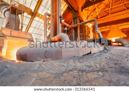 Hangzhou, China - on August 18, 2015  hangzhou Steel mills Molten iron furnace production line, hangzhou Steel mills is a large iron and steel factory  - stock photo