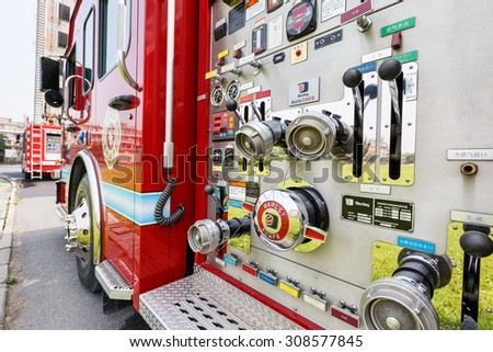 Hangzhou, China - on May 25, 2015: China's fire engines equipment close shot high performance Fire engines is the guarantee of urban fire rescue