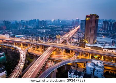 Hangzhou city night - stock photo