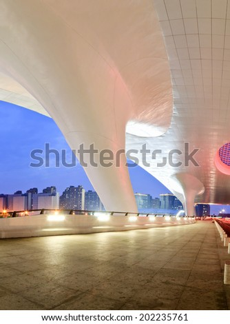 Hangzhou - June 22:Hangzhou railway station east station building night landscape , on June 22, 2014 in hangzhou, China. Hangzhou railway station east station is one of the largest railway hub in Asia