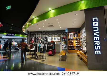 HANGZHOU-MAR. 26, 2015. converse store interior. China accounts for about 20 percent, or 180 billion renminbi ($27 billion1 ) of global luxury sales in 2015, according to new McKinsey research.