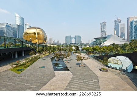 Hangzhou -  October 7:  qianjiang new city central business district, on October 7, 2014 hangzhou, China. Hangzhou citizens center, international conference center, grand theater are all here.