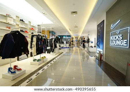 HANGZHOU-Sept.28,2016. Modern shopping mall interior. China accounts for about 20 percent, or 180 billion renminbi ($27 billion1 ) of global luxury sales in 2016, according to new McKinsey research.