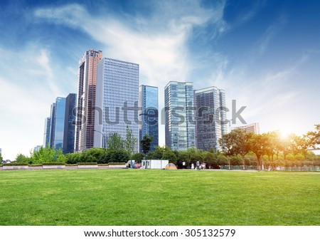 Hangzhou, Zhejiang, China, leisure and high-rise buildings of the public. - stock photo