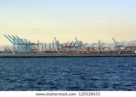 Hanjin Shipping Terminal at the Port of Long Beach - stock photo