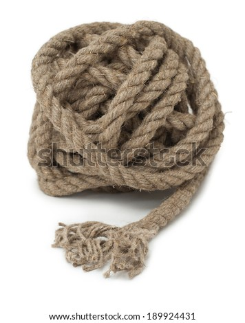 hank of hemp rope, with its end in the foreground, closeup - stock photo