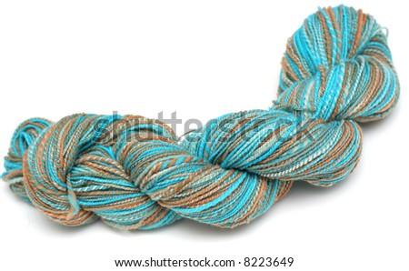 Hank or Skein of Hand-dyed, Hand-spun Wool Yarn - stock photo