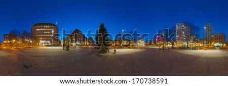 Hannover district Linden-Limmer at night. 360 degree panoramic composition. - stock photo