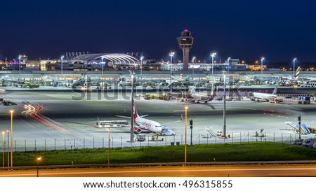Hannover, Germany - August 14, 2016: Munich Airport near Freising at Night, Bavaria, Germany.
