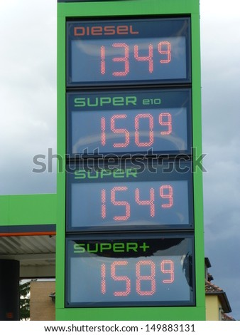 Hannover, Germany 13./08./2013 Current gasoline prices at a gas station in Hanover. - stock photo