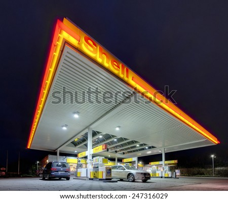 HANNOVER, GERMANY -JANUARY  16, 2015: Shell gas station at night in Hannover, Germany