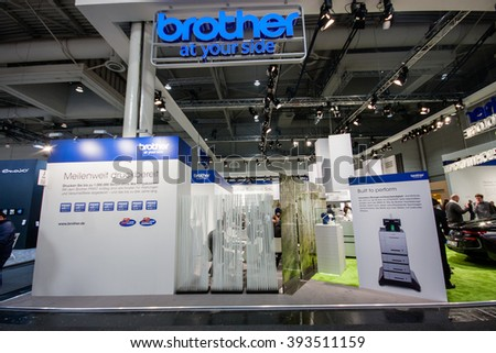 HANNOVER, GERMANY - MARCH 14, 2016: Booth of Brother company at CeBIT information technology trade show in Hannover, Germany on March 14, 2016. - stock photo