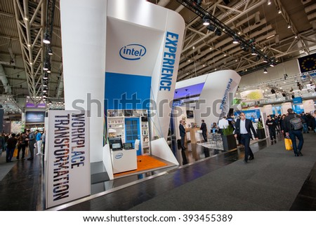 HANNOVER, GERMANY - MARCH 14, 2016: Booth of Intel Corporation at CeBIT information technology trade show in Hannover, Germany on March 14, 2016. - stock photo