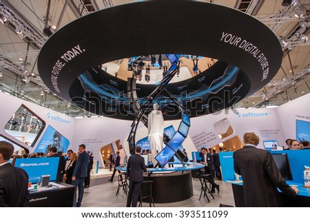 HANNOVER, GERMANY - MARCH 14, 2016: Booth of Software AG company at CeBIT information technology trade show in Hannover, Germany on March 14, 2016. - stock photo