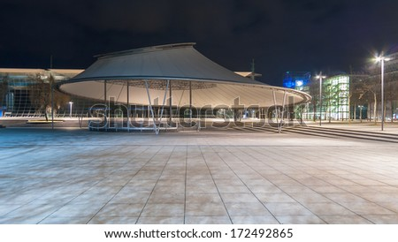 HANNOVER, GERMANY - March 14, 2008: Plaza stage in Hannover Expo Plaza. Stage roof became severely damaged in winter, 2010 by the snowy masses.