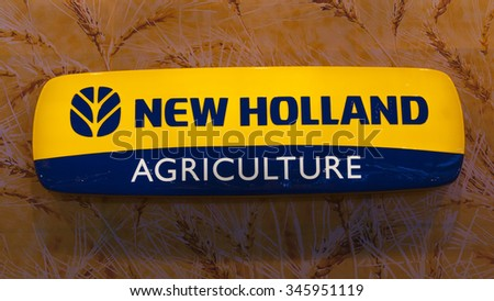 Hannover, Germany - November 13, 2015: The logo of New Holland a global brand of agricultural machinery on Agritechnica trade fair in Hannover, Germany.