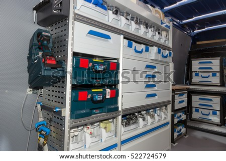 HANNOVER, GERMANY - SEP 21, 2016:  Secure in-vehicle storage equipment for light commercial vehicles on display at the International Motor Show for Commercial Vehicles.
