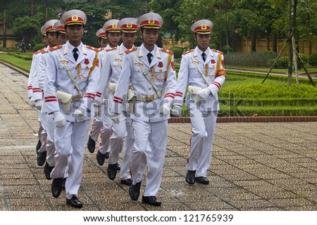 HANOI - AUGUST 8: Changing guards at Ho Chi Minh mausoleum on August 8, 2012 in Hanoi, Vietnam. Mausoleum was formally inaugurated on August 29, 1975.