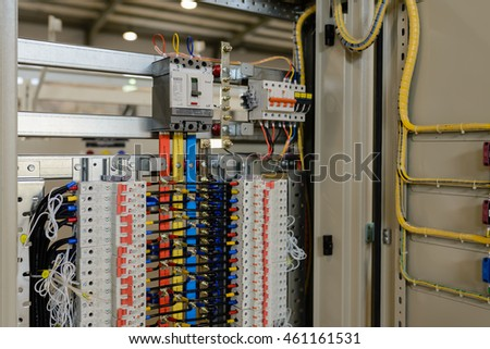 Hanoi, Vietnam, April 28, 2016: Branch LS electric Equipment in a electrical switchboard