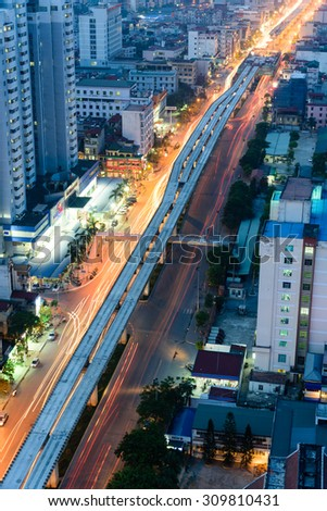 HANOI,VIETNAM-AUG 24, 2015 - Aerial view of Nguyen Trai street in Thanh Xuan district. This view is toward the Northeast of Hanoi. Cityscape and high speed, motion concept