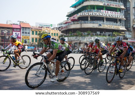 Hanoi, Vietnam, Aug 23 2015 the biker are on the racetrack, Hanoi bike racing expanded in 2015