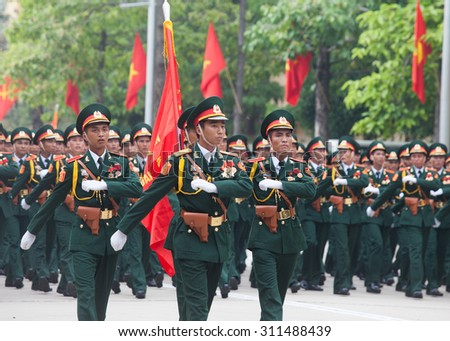 Hanoi , vietnam , August 29 2015 , Rehearsal parade of the Armed Forces Vietnam, print Preparation for the celebration of 70 years of Independence Day