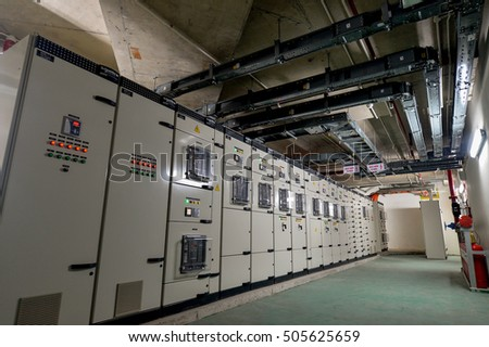Hanoi, Vietnam 06 August 2016: view in Electric low voltage control room of a senior building in Hanoi, Blokset Schneider