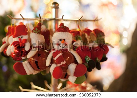 Hanoi VIetnam December 5 2016 Close up toys and decorated with a snowman on top and doll smile on Christmas shop