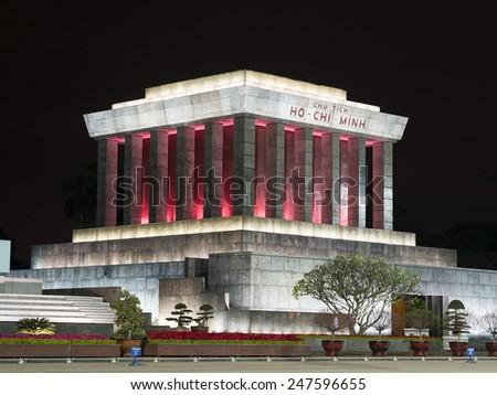 Hanoi, Vietnam - February 7, 2014: View of Ho Chi Min mausoleum at night in Hanoi, Vietnam. - stock photo