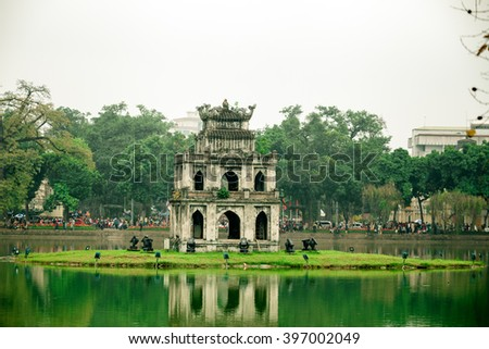 hanoi,vietnam: Hoankiem lake in the morning on mar 20,2016.HoanKiem Lake is famous tourism place in hanoi