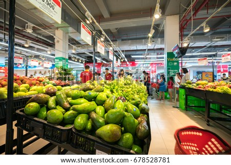 Hanoi, Vietnam - July 10, 2017: Fresh fruits on shelf in Vinmart supermarket, Minh Khai street.