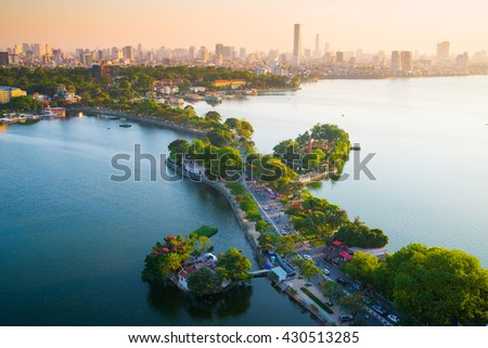 Hanoi, Vietnam - June 3, 2016: Aerial view of Hanoi skyline cityscape near Thanh Nien street at sunset time