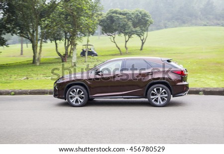 Hanoi, Vietnam - March 23, 2016: Lexus RX 350 all-new (model 2016) car is on the test  drive in Vietnam.