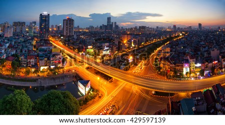 Hanoi, Vietnam - May 31, 2016: Aerial view of Hanoi skyline cityscape at sunset time