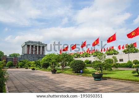 Hanoi, Vietnam - May 20, 2014: Ho Chi Minh Mausoleum beside Ba Dinh square. - stock photo