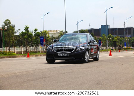 Hanoi, Vietnam - May 15, 2015: Mercedes-Benz S-Class car running on the road in Mercedes-Benz Driving Academy event in Vietnam. This event is opening for everybody in Vietnam. - stock photo