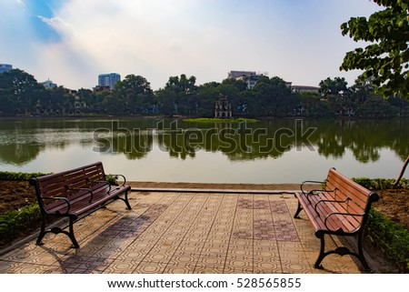 Hanoi, Vietnam -Nov 23, 2016 Hoan Kiem Lake, the little lake in the old part of Hanoi, Vietnam, with the Turtle Tower. Turtle Tower is the symbol of Hanoi,Vietnam