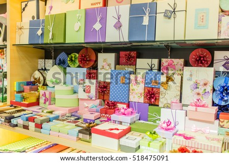 Hanoi, Vietnam 06 November 2016: Cute small gift boxes for selling on shelf in the stationery shop