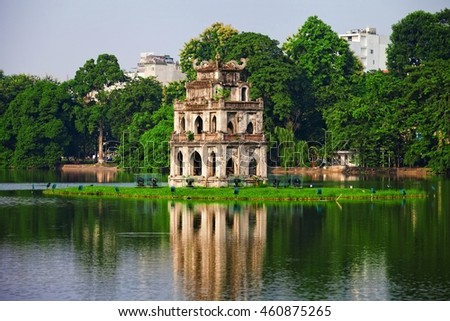 Hanoi, Vietnam -Oct 19, 2015 Hoan Kiem Lake, the little lake in the old part of Hanoi, Vietnam, with the Turtle Tower. Turtle Tower is the symbol of Hanoi,Vietnam